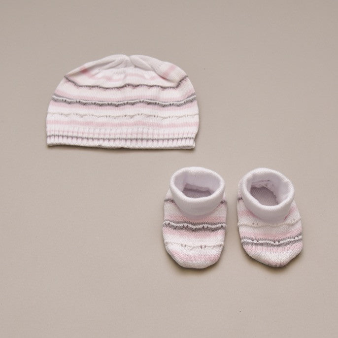 Gray, Pink and White 100% Baby Pima Cotton Knit Beenie and Bottie Set