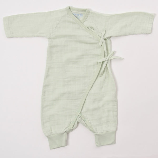 Baby Side Tie Kimono Playsuit in Sage color