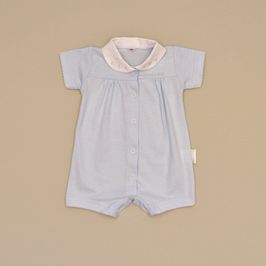 White and Blue 100% Cotton Blue Baby Short Sleeve Romper with White Pique Collar with Blue Embroidered Dots