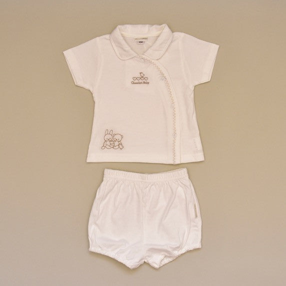 100% Cotton Ivory Baby Two Piece Short Set with Embroidery on Top