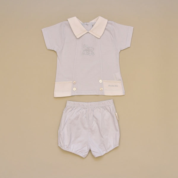 100% Cotton Blue Baby Two Piece Short Set with White Pique Collar and Embroidery