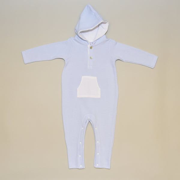 100% Cotton Infant Hooded Blue and White Playsuit