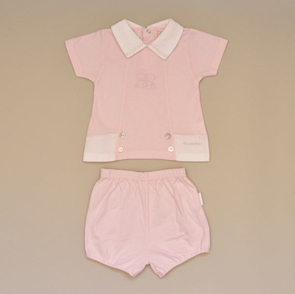 100% Cotton Pink Baby Two Piece Short Set with White Pique Collar and Embroidery on Top