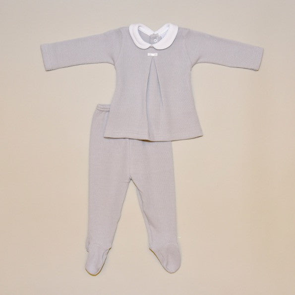 100% Cotton Baby Two Piece Gray Set with Footy Pant and White Collar