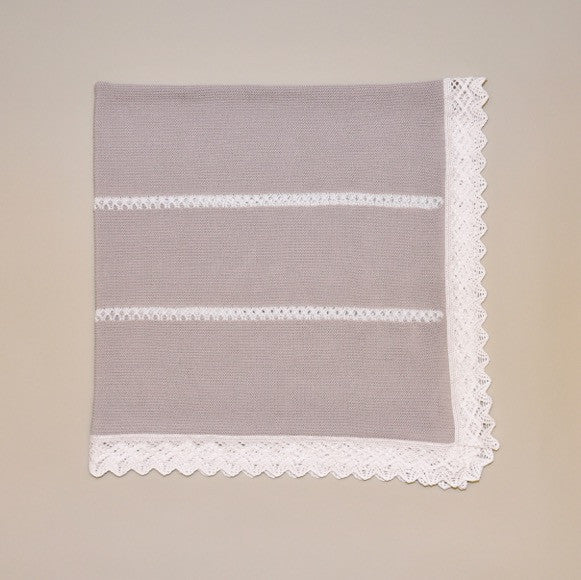 Gray and White Hand Knitted Baby Blanket