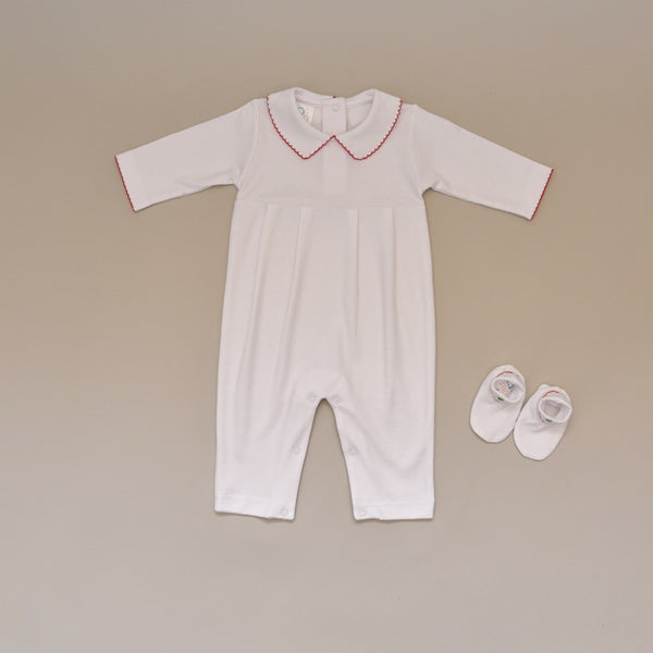 Christmas Baby White Pima Cotton Holiday Long Sleeve Romper and Bootie Set with Red Embroidered Collar