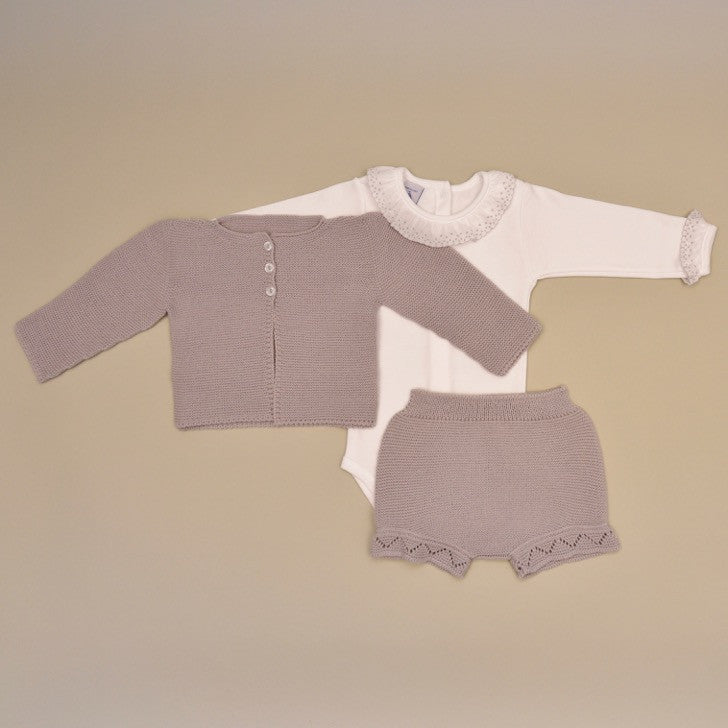Baby Three Piece Knit Set with 100% Cotton Gray Embroidered Ruffle Collar Onesie Gray