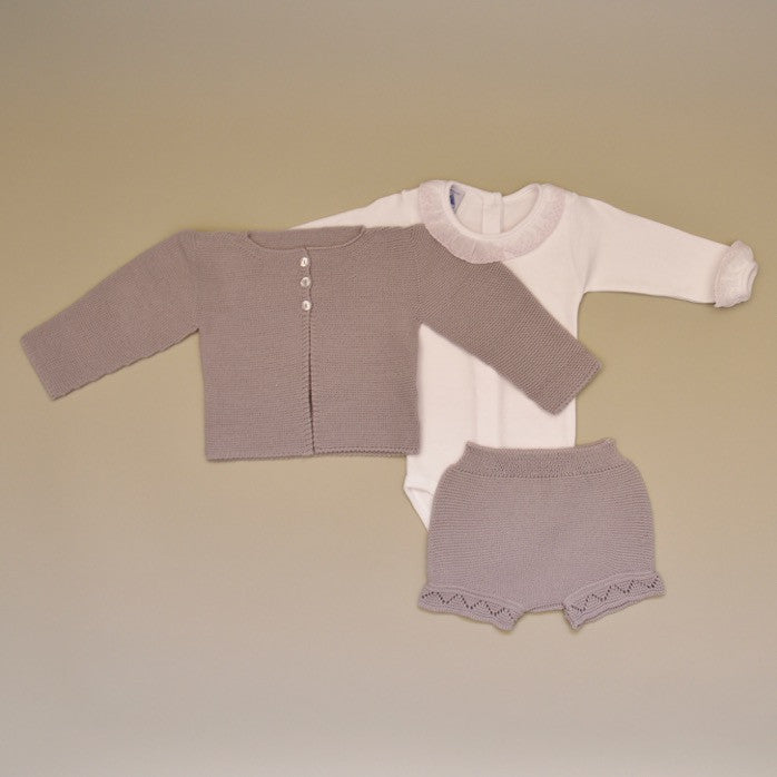 Baby Three Piece Beige Knit Set with 100% Cotton Pink Embroidered Ruffle Collar Onesie