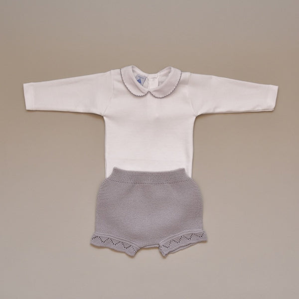 Baby Two Piece Knit Set with 100% Cotton Gray Crochet Collar Onesie Gray