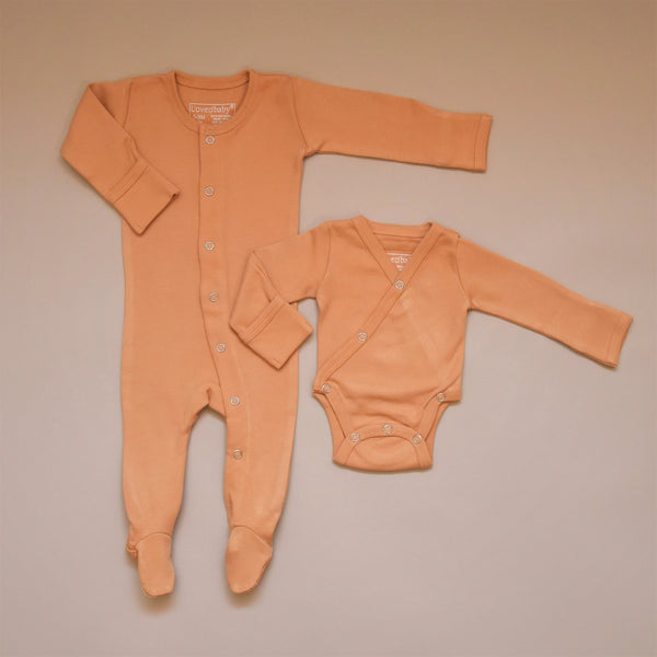 Honey Organic Cotton Kimono Bodysuit and Footed Overall