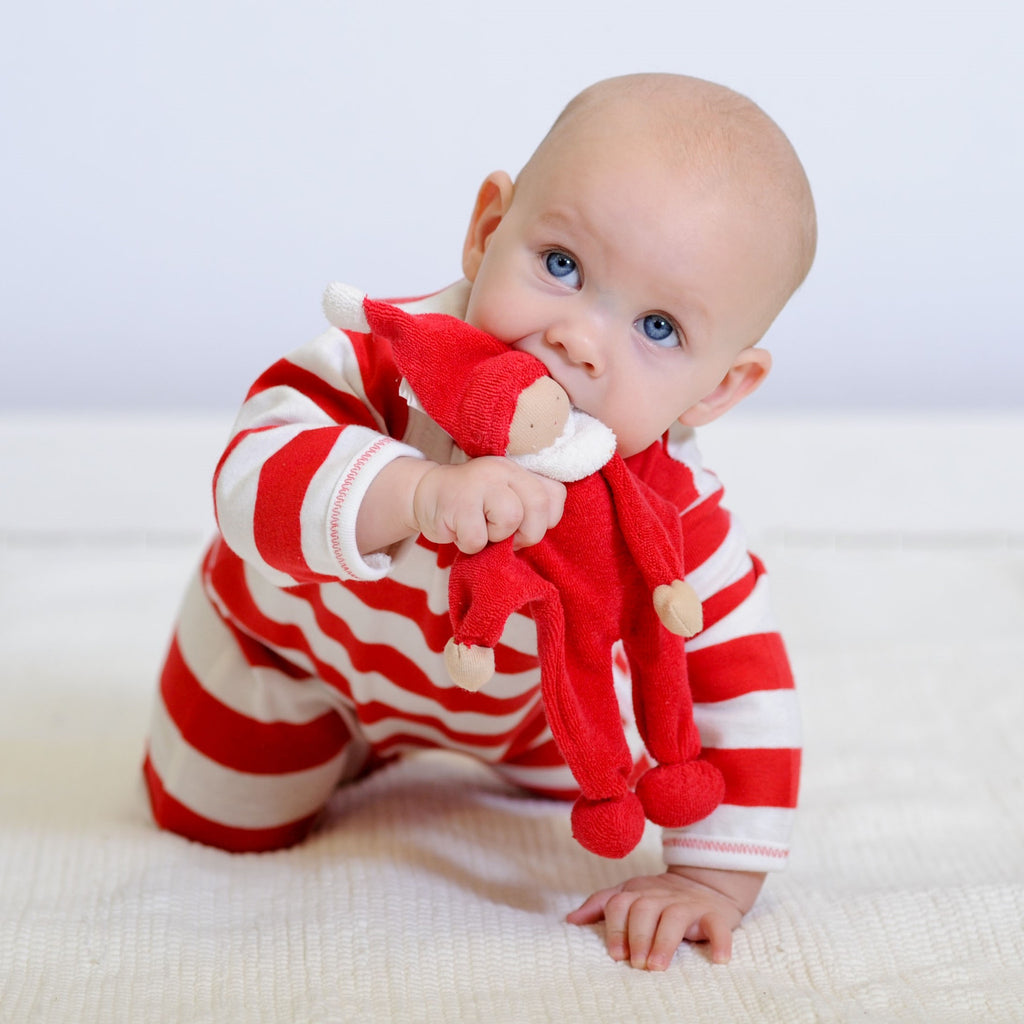 Holiday red and white footie romper