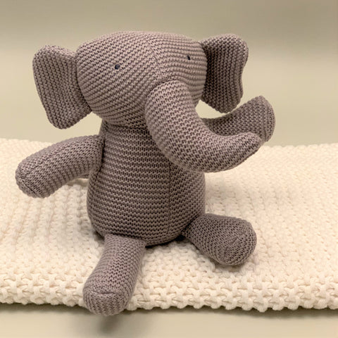 White 100% Organic Cotton Knit Blanket and Classic Knit Elephant