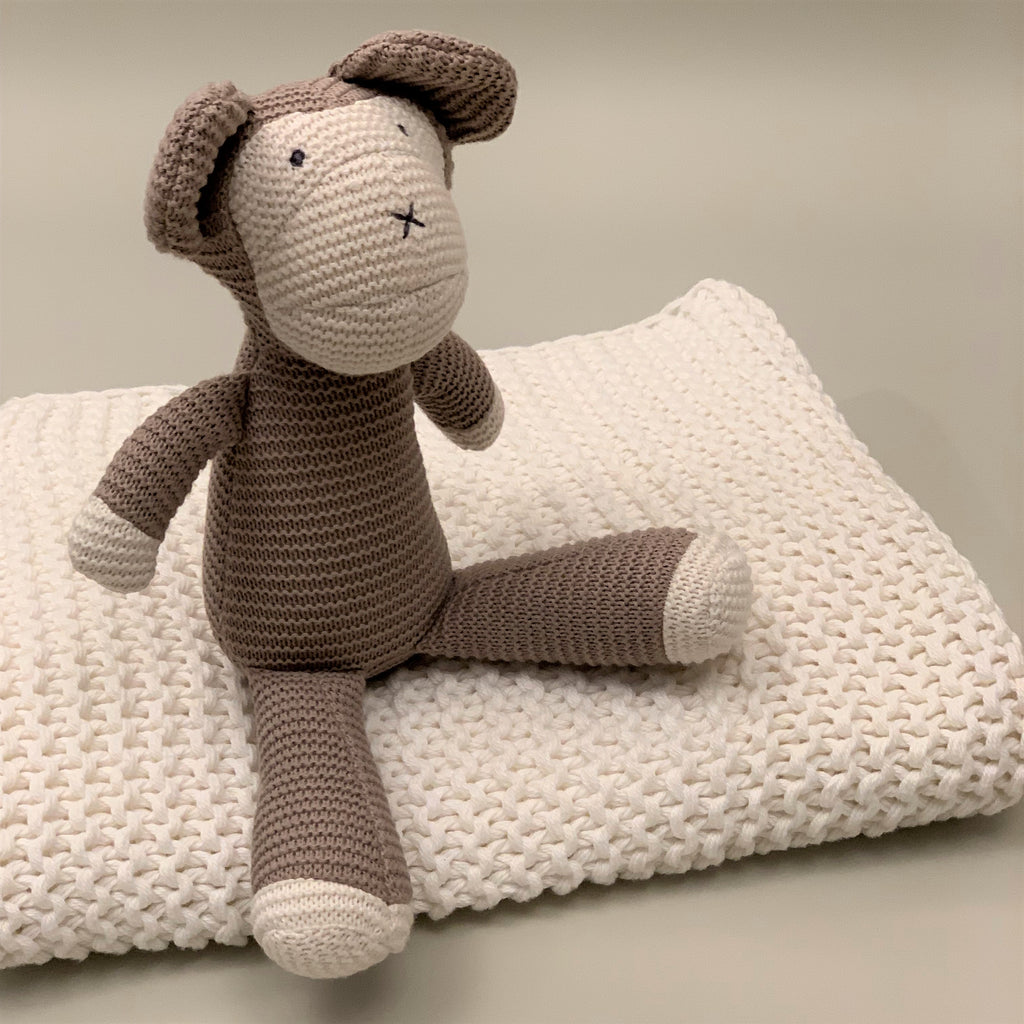White 100% Organic Cotton Knit Blanket and Classic Knit Monkey