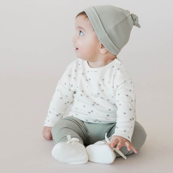 100% Organic Cotton Long Sleeve Baby Tee, Pant and Booties Set