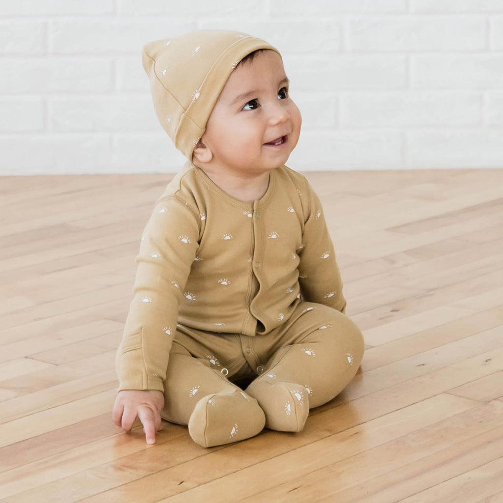 100% Organic Cotton Honey Full Snap Footie with matching Knotted Hat