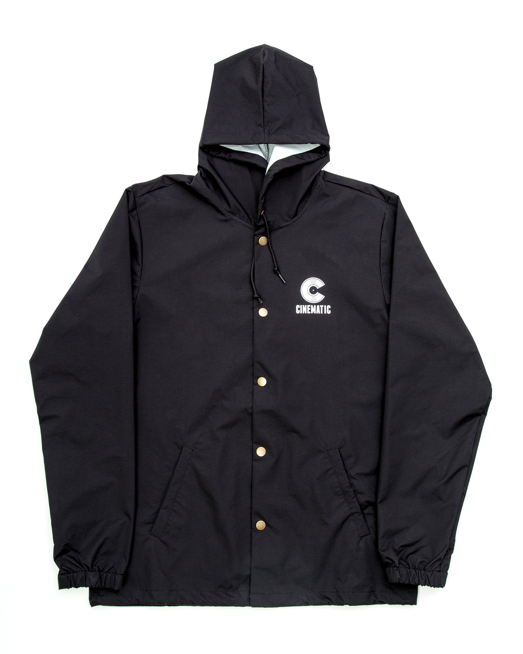 Cinematic Hooded Coach Jacket (Black)