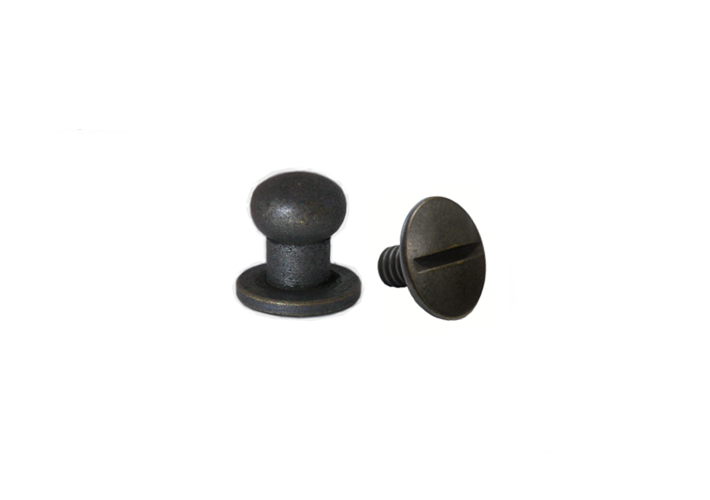 Medium Button Head Stud & Screw Antique Brass