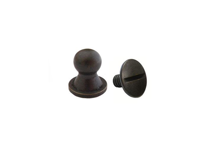 Sam Browne Button Head Stud & Screw Antique Brass
