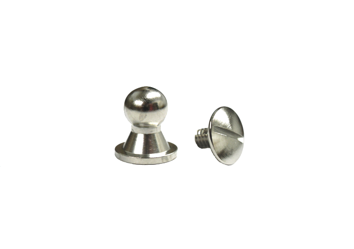Sam Browne Button Head Stud & Screw Bright Nickel Plate