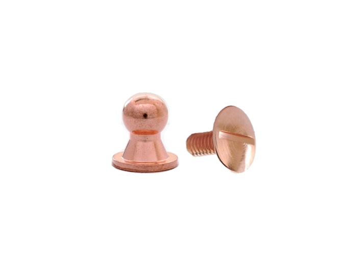Sam Browne Button Head Stud & Screw Copper Plate