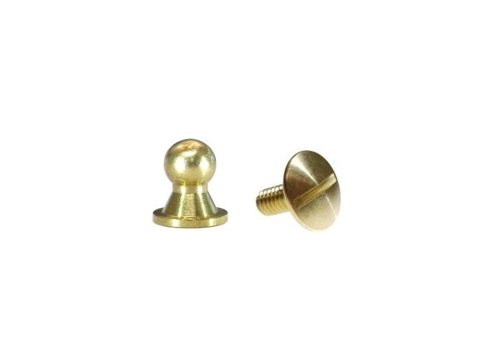 Sam Browne Button Head Stud & Screw Solid Brass