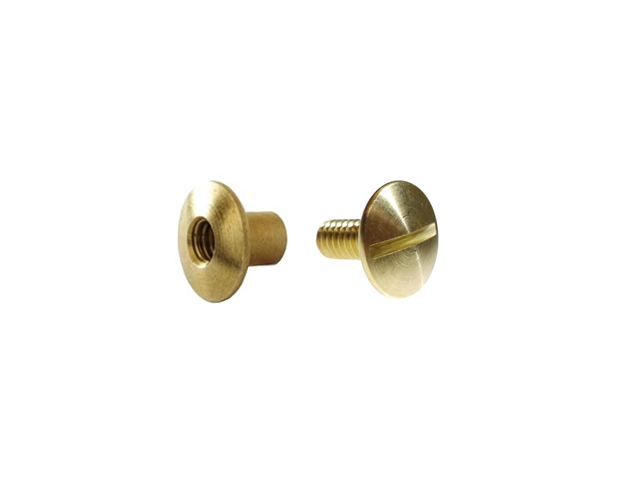 "1/4"" 6.3MM Chicago Post w/ Open Head & Screw Set Solid Brass"