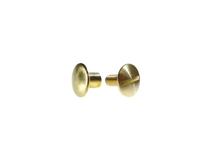 "3/8"" 9.5MM Chicago Post & Screw Set Solid Brass"