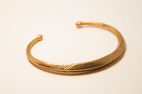 Lost wax cast brass bracelet