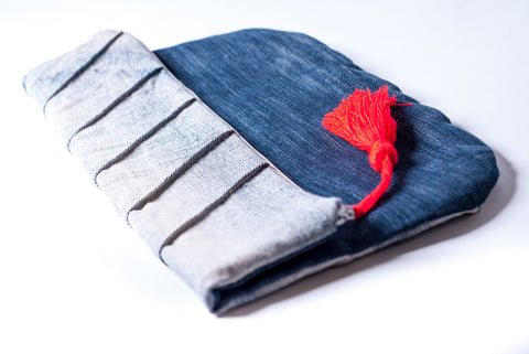 Seamed denim clutch