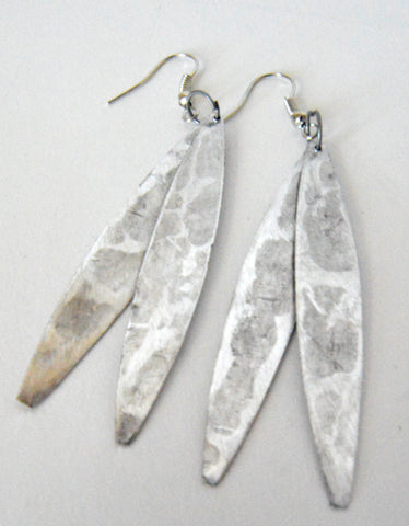 Sobho Earrings Flat Silver Leaves