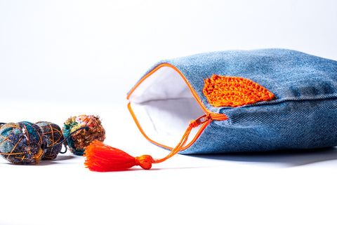 Orange Flower Denim Clutch