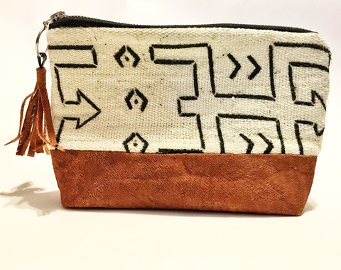 Bark and mudcloth makeup bag