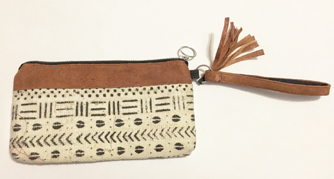 Bark and mudcloth wristlet