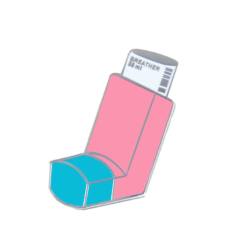 breather asthma pink blue inhaler pin shopfreeradicals