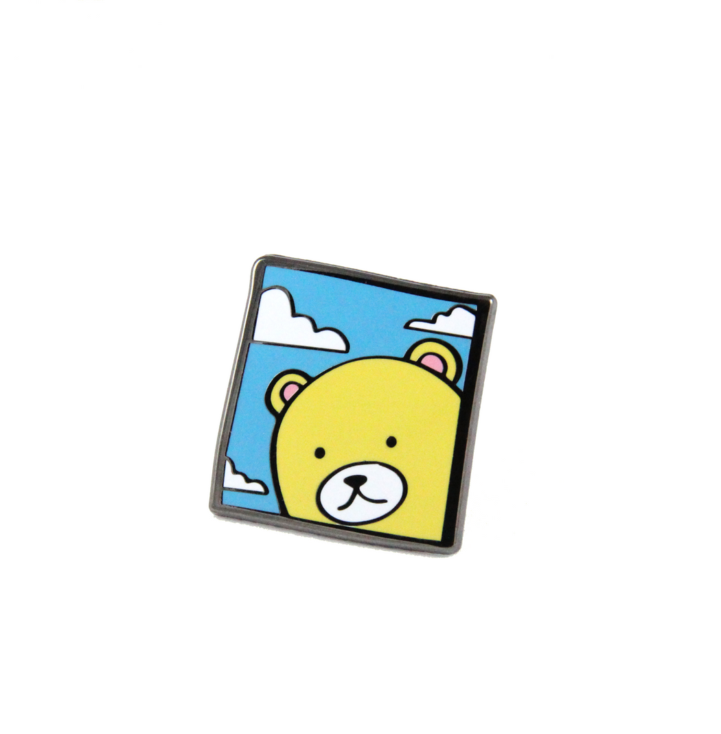 larry In the sky lapel pin enamel pin free radicals kawaii yellow bear clouds