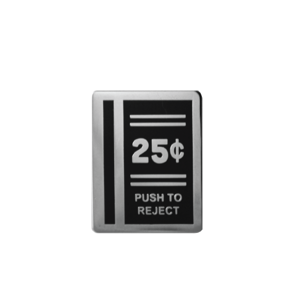 black 25 cent push to reject lapel pin free radicals