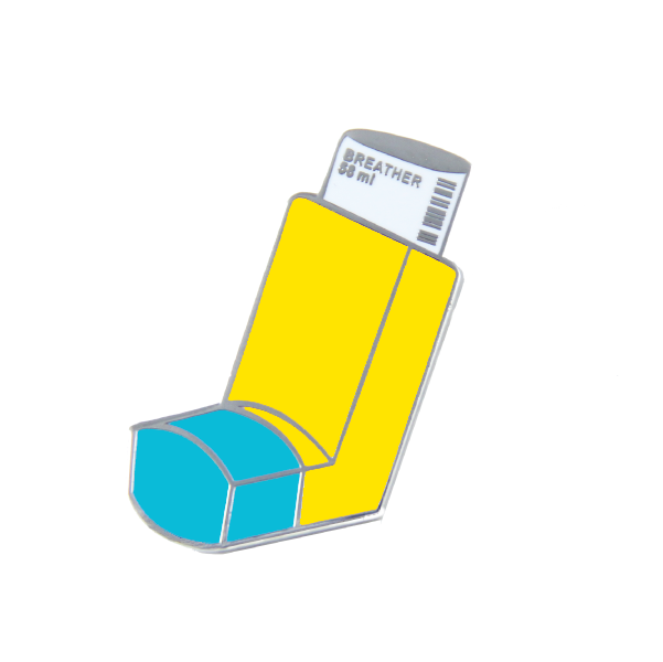 blue yellow breather asthma inhaler pin shopfreeradicals