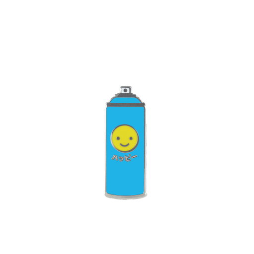 free radicals japanese happy smiley face spray can blue pin