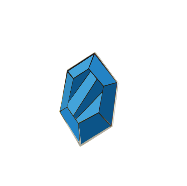 blue rupee pin by free radicals