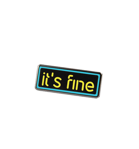 jsxfr julien solomita free radicals it's fine neon sign blue and yellow pin