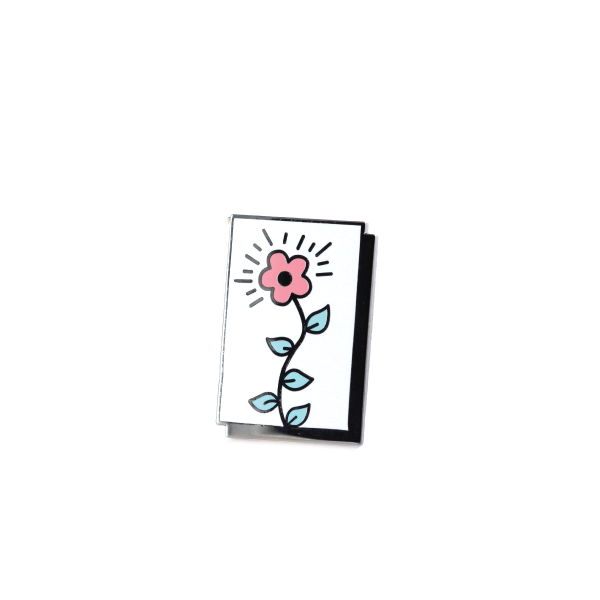 blooming flower panel pin free radicals black nickel blue/pink
