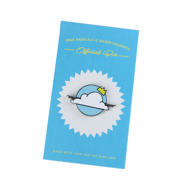 julien solomita x free radicals nimbus cloud crown lapel pin