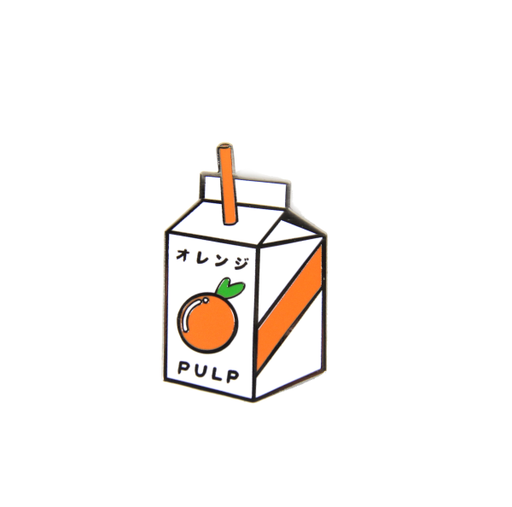 jsxfr julien solomita free radicals collaboration oj pulp orange juice box lapel pin
