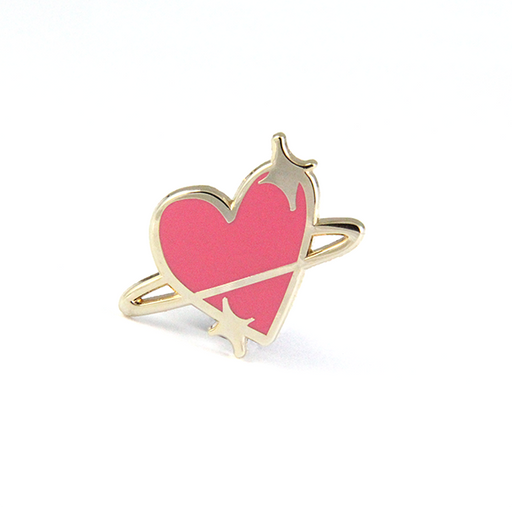 heart emoji planet lapel enamel pin free radicals pink