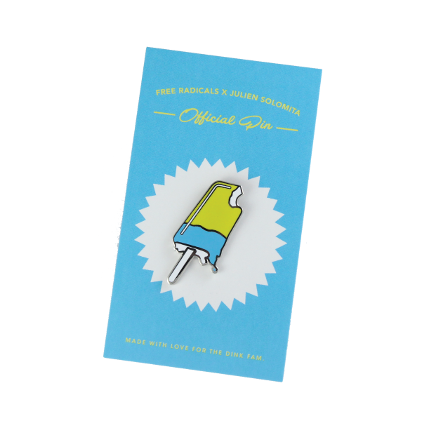 julien solomita x free radicals popsicle pin blue and yellow lapel pin
