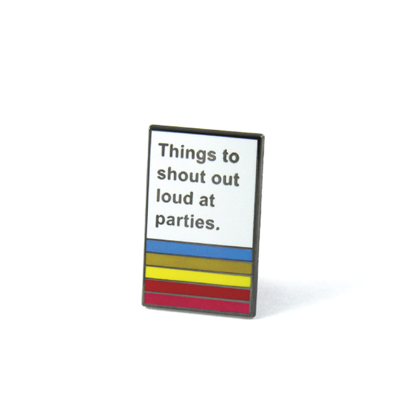 markus almond x free radicals things to shout out loud at parties book lapel pin