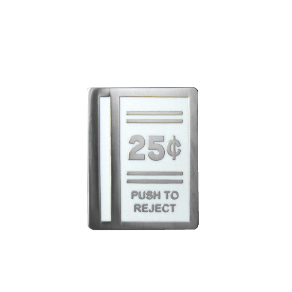 white 25 cent push to reject lapel pin free radicals