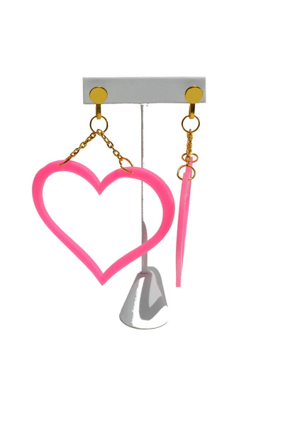 Pink Heart Statement Earrings