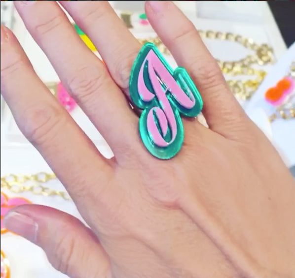 Pink & Green Intial Ring