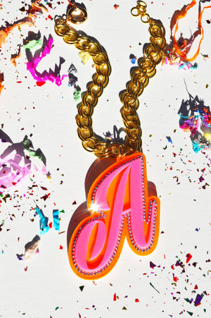 XL Pink & Orange Letter Necklace